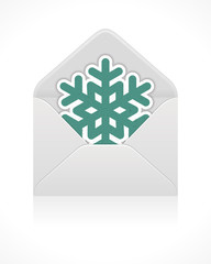 Mail icon with snowflake. Vector illustration