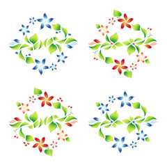 Set beautiful ornaments with foliage and flowers 10
