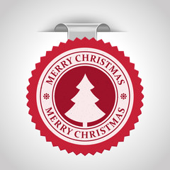 Christmas label with snowflake shape vector illustration