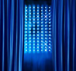 Stage spotlights blue curtains