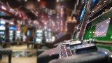 Slot machines in casino on board of cruise liner, closed up