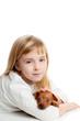 blond kid girl with mini pinscher pet mascot dog