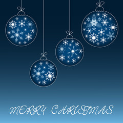Blue and white Christmas balls illustration