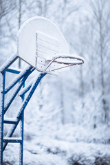 Basketball ring in winter