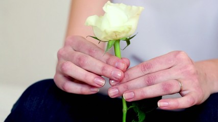 Girls hands holds and rotate rose, closeup view