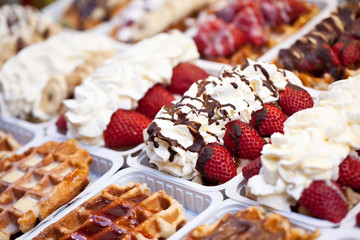 Belgian waffles with toppings display