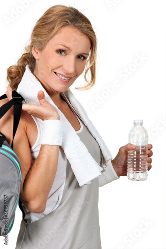 Woman returning from gym