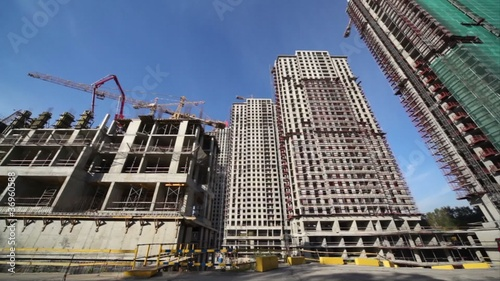 Panorama of the construction site of several high-rise buildings