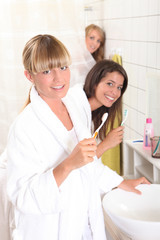 Young women in the bathroom together