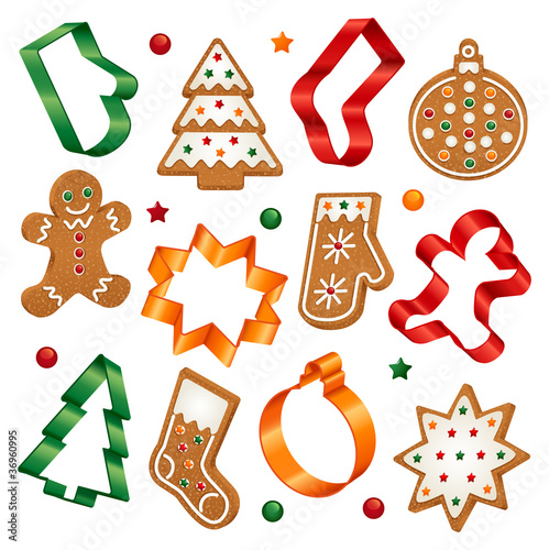 Christmas cookies and cookie cutters