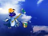 The New Year's Dark blue Dragon