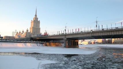 City of Moscow, view from river in motion