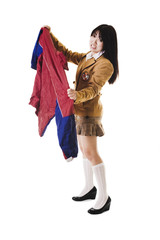 Chinese school girl with ugly uniform.
