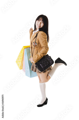 Chinese school girl shopping.