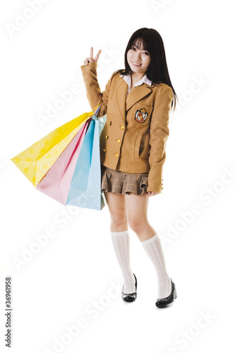 Chinese school girl shopping.