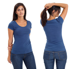 Female wearing blank blue shirt