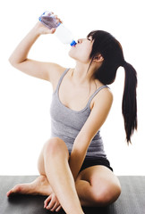 Chinese woman drinking water.