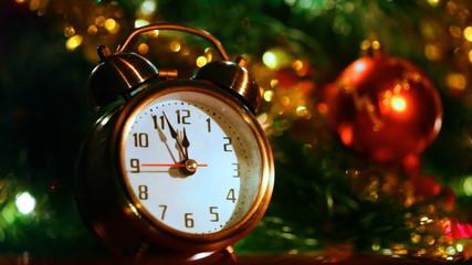 alarm clock at three minutes remaining before New Years