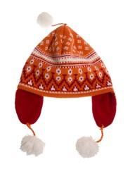 Rote Strickmütze mit Ohrenklappen im Norweger Muster