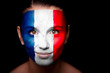 Portrait of a woman with the flag of the France
