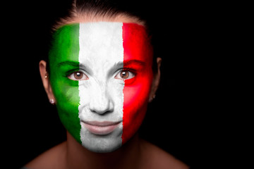 Portrait of a woman with the flag of the Italy