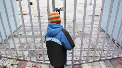 little boy squeeze through fence in a closed area and escapes