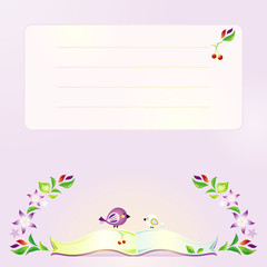 Violet background with the open book, birds and blossoming branc