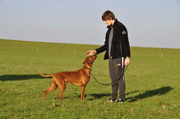 Junger Mann mit Hund