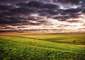 Scenic landscape at dusk