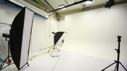 White background inside studio light room with lamps