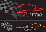 car silhouette design line & race flag