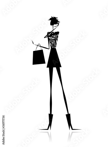 Fashion girl silhouette with shopping bag © Kudryashka