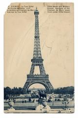 Eiffel Tower - vintage postcard