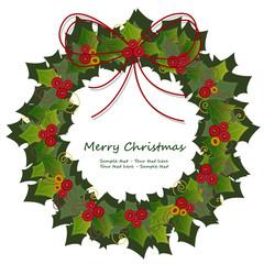 Buon natale - coccarda natalizia con vischio rosso