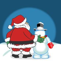 Weihnachtsmann mit Schneemann
