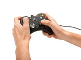 Hands with gamepad isoated poster