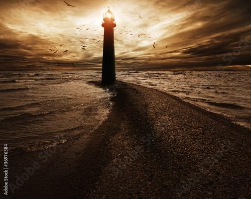 Stormy sky over  lighthouse