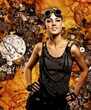 Steampunk girl over grunge background