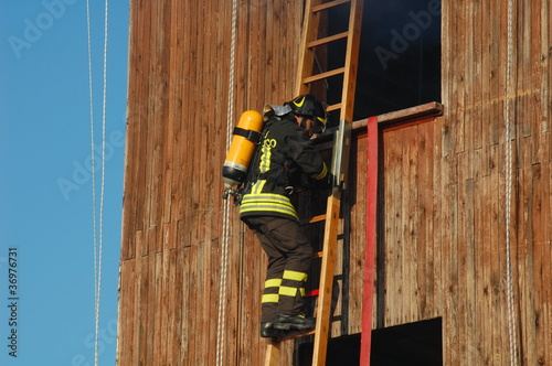 Firefighters training in their fire station in Italy