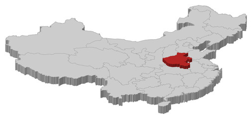 Map of China, Henan highlighted