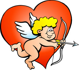 Hand-drawn Vector illustration of an Amor Angel Boy
