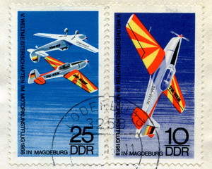 "Vintage german stamps ""Aerobatics"""