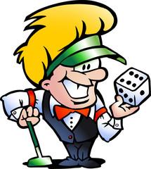 Hand-drawn Vector illustration of an Casino Croupier