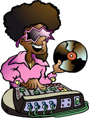Hand-drawn Vector illustration of an Disco DJ