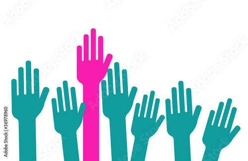 STOP - femme qui lève la main