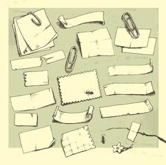 Paper pieces.