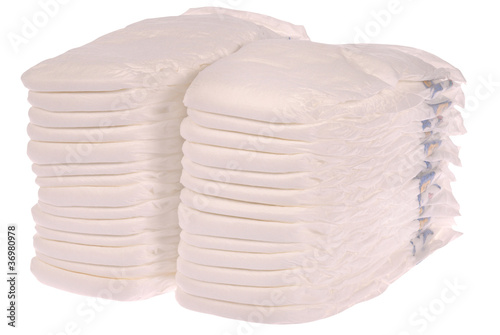 Stack of baby diapers