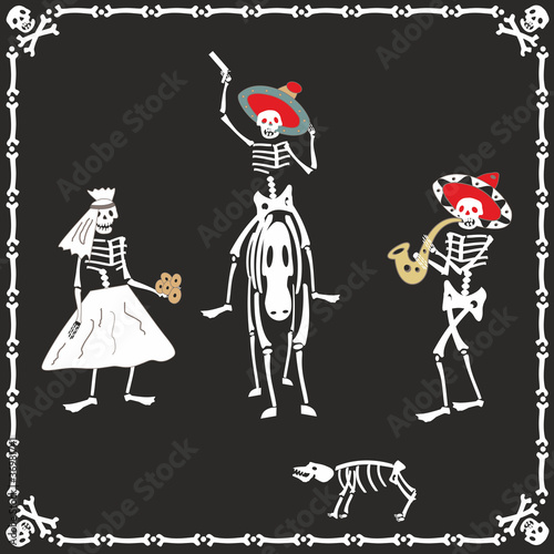 Amusing skeletons on wedding
