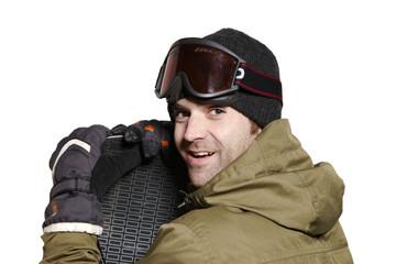 Snowboarder mit Skibrille & Snowboard