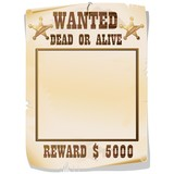 Wanted Dead or Alive Poster-Ricercato Vivo o Morto-2-Vector poster